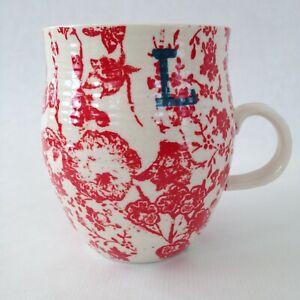 Anthropologie Homegrown L Mug Monogram Initial Coffee Tea Cup Red Ceramic
