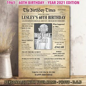 60th Back In 1961 Personalised Photo Birthday Gift Poster Print Newspaper 37