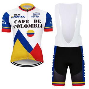 Team Cafe De Colombia Mens Cycling Jersey Bib Shorts Kits Shirt Tights Bike Wear