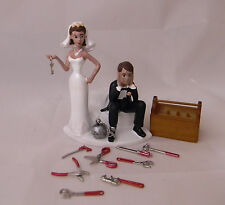 Wedding Party Reception Hispanic Mechanic Shop Garage Ball & Chain Cake Topper