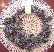 5 Ft Shabby Cottage Chic Garland Blue Purple Berries Faux Crystals Vine Leaves