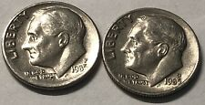 1985 P and D 2 Coin Roosevelt Dime Set In Good Condition