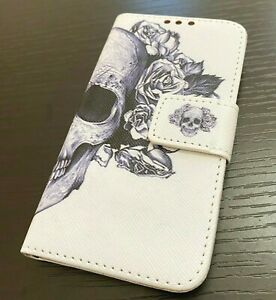 iPod Touch 5th 6th & 7th Gen - Leather Card Wallet Pouch Case Candy Skull Flower