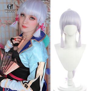 Genshin Impact Kamisato Ayaka Cosplay 70cm Ponytail Long Silver Halloween Hair
