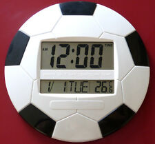 Large LCD Digital Clock Alarm Temperature Date Time Football Shape Desk Wall UK