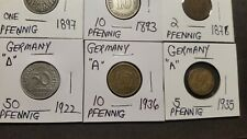 Germany , Lot of 12 Vintage Coins .