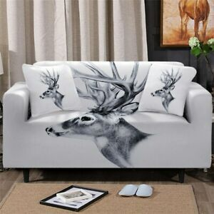 Grey Deer Animal Sofa Chair Couch Cushion Stretch Cover Slipcover Set Decor