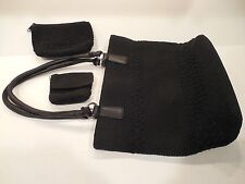 Worthington Black Cotton Blend Knit Shoulder Handbag. Make Up Purse 3-Piece Set
