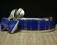 Ray Tracey Knifewing Navajo Sterling Silver Lapis Cuff Bracelet & Earrings Set