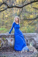 """Linen Dress """"Autumn Princess� for Larp, Size 8, blue color"""