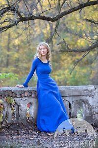 """Linen Dress """"Autumn Princess""""  for LARP, SIZE 8, blue color"""