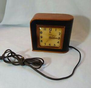 Vintage Art Deco Electric Telechron Wood Leather Clock! Model 3H77 Works!