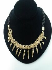 C Wonder Crochet Spike Necklace Choker Cluster Gold Bib with Spikes $78