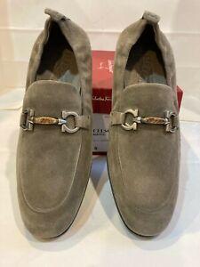 "Salvatore Ferragamo Men Suede Shoes.Loafers Size-8EEE""CELSO""Grey Suede"