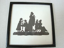Superb SILOUETTE style picture of FAMILY scene Black on white background 17.5cm