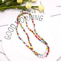 Boho Women Choker Letter Colorful Beads Chain Women Charm Necklace Jewelry Gi SK