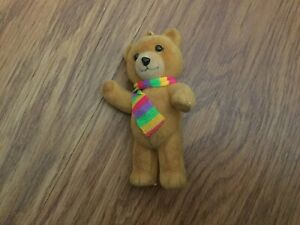 Mini Flocked Teddy Bear Ornament With Multi-Color Scarf