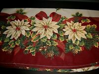 "Vintage Oval Christmas tablecloth Poinsettias, Holly & Pine-cones 80"" x 60"""