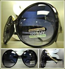 OVERSIZED EXAGGERATED VINTAGE RETRO Style SUN GLASSES Huge XL Black & Gold Frame