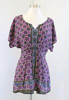 Fei Anthropologie Penthesilea Geometric Printed Silk Tunic Top Blouse Size XS
