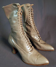Victorian Bazaar Store Gray Leather High Top Lace-up Boots Pointed Toe Shoes Vtg