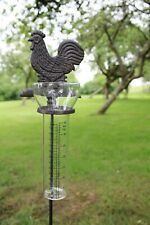Decorative Cast Iron and Glass Garden Chicken Rain Gauge Outdoor Measuring Unit