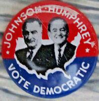 2885 1964 Johnson Humphrey VOTE DEMOCRATIC Jugate Campaign Button
