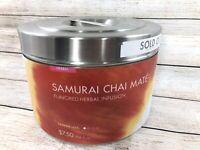 Teavana Samurai Chai Stainless Steel Store Canister Wall Tin Airtight Food Grade