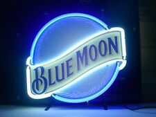 """New Blue Moon Beer Pub Bar Game Room Handmade Real Glass Neon Sign 17""""x14"""""""