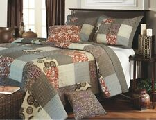 STELLA BROWN FULL / QUEEN QUILT SET : MEDALLION TERRA COTTA BOHO BEDDING