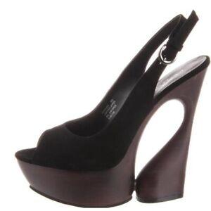 "Pleaser Day & Night SWAN-654 Black Suede Exotic Dancer 6"" Platform Heel 5 NEW"