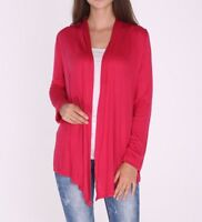 Classic Open Front Red Draped Office Cardigan Top Shirt Sweater SML/Plus Size