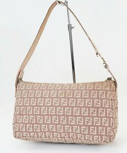 Authentic FENDI Pink and Beige Zucca Canvas and Leather Hand Bag Purse #39677