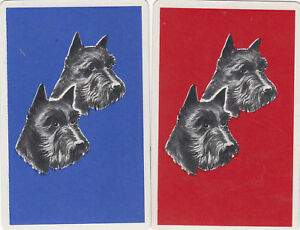 #25 2 (pair) vintage single playing swap cards - Dog - Terrier Heads -JS