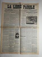 N195 La Une Du Journal la libre parole 8 juillet 1911 âme de vaincu conflit