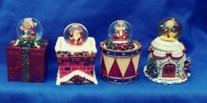 Christmas Teddy Holiday Snow Globe Trinket Gift Box Kirkland Reversible Top