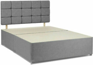 Suede Fabric Divan Bed Frame 4ft 6 Double 5ft King Cube Headboard + Base Only
