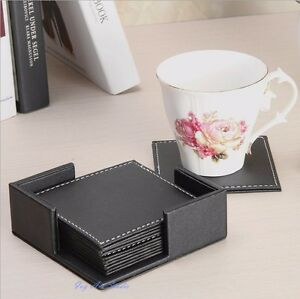 6 x Double-Deck Black PU Leather Coaster Set Placemat of Cup Mug Mat with Holder