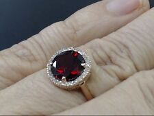 ESTATE GARNET & DIAMOND HALO SET RING REAL 14k ROSE GOLD 3.2g SIZE 7 (GP1014150)