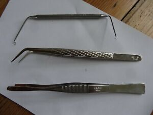 2 x BELZER Precision Tweezers 5516 angled+ 5577 copper tipped + 5413 hooked end