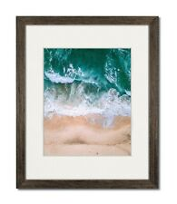 12X16 Walnut Coastal Wood Picture Frame with Single White Mat for 9X12