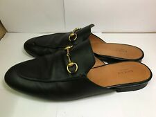 Gucci Classic Almond-toe Slip-ons / Slippers Leather Black Womens' 42