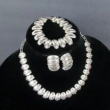 Vtg 50s Modernist Link Necklace Earrings Bracelet Set Parure Silver-tone Couture