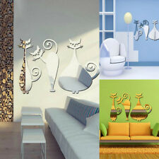 3D Mirror Three Cats Wall Sticker Decal DIY Home Room Art Mural Decor Removable