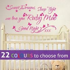 PERSONALISED custom girls name SWEET DREAMS we love you wall art sticker nursery