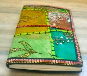 Assorted Green Colour Colourful Diary, Refillable Sari Journal Medium Size