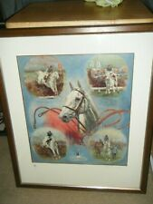More details for  desert orchid horse racing greatest art print framed signed by clare e burton