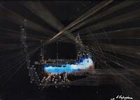 Quadro astratto moderno Dipinto Olio su tela firmato Leonardo Caposiena 1971
