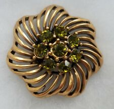 New Trendy Bronze Tone Flower Floral Green Rhinestone Brooch Pin