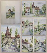 7 Aquarelle Teichmann Landschaft Stadtansicht Bayern Franken Iphofen 1941 xz